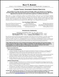 sample resume executive manager investment banking resume example
