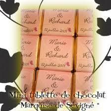 chocolat personnalisã mariage mini tablette de chocolat marquise de sévigné personnalisée