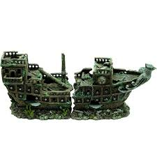 large 2 shipwreck classic aquarium ornament for larger