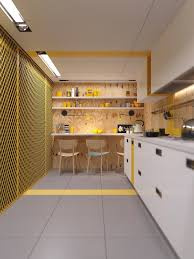 decorating ideas yellow accent industrial kitchen open shelves