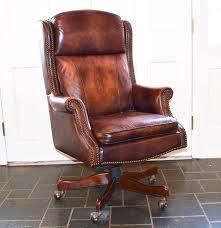 Executive Brown Leather Office Chairs Executive Leather Wingback Office Chair Ebth