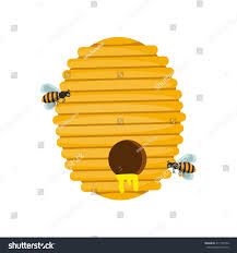 board illustration beehive surrounded by bees stock vector