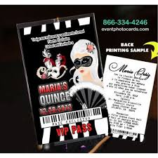 phantom of the opera sweet 16 vip pass invitationsfor quinceanera