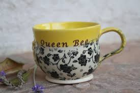 Handmade Tea Cups - bee mug ceramic small cup with message mug pottery coffee