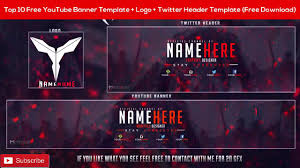 top 10 free youtube banner template logo twitter header