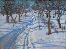 road in a winter garden 1920 1930 nikolay bogdanov belsky