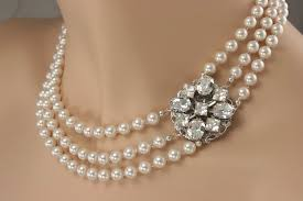 pearl necklace wedding jewelry images Hand crafted vintage style wedding necklace multistrand pearls jpg