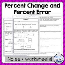 percent change and percent error notes and worksheet by math on