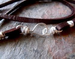 cord necklace silver clasp images Silver leather etsy jpg