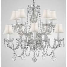 Chandelier With Black Shades 10 Light Empress Crystal Chandelier With White Shades T22 1823