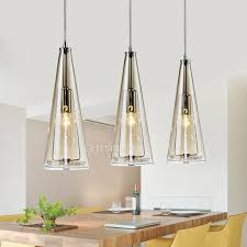 Colored Glass Pendant Lights 3 Light Rectangular Type Glass Shade Stainless Steel Pendant Lights