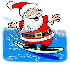free drawing of a surfing santa from the category