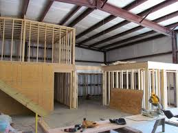 the inside framing of a metal building converted into a home my