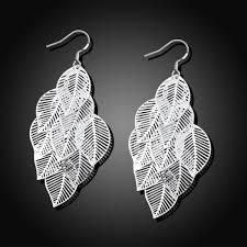 silver chandelier earrings sterling silver dangling leaves chandelier earrings dailysale