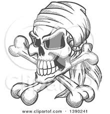 clipart of a sketched gray pirate skull with crossed bones and a