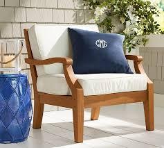 Teak Armchair Monogrammable Indoor Outdoor Pillow Pottery Barn