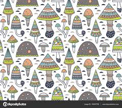 pattern with geometric ornamental mushrooms and toadstools stock