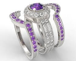 amethyst rings vintage images Vintage amethyst diamond triple wedding ring set vidar jewelry png