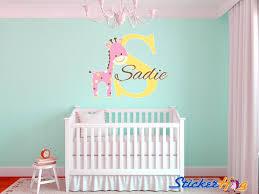 Giraffe Nursery Decor Baby Giraffe Name Monogram Nursery Room Vinyl Wall Decal Decor