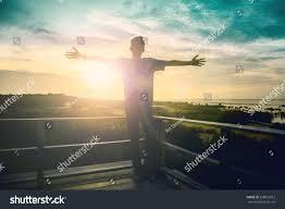thanksgiving morning prayer silhouette freedom man rise hands inspire stock photo 538651057