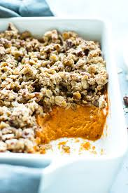 healthy sweet potato casserole with pecan oat crumble evolving table