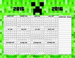 printable calendar 2016 for teachers minecraft printable calendar at a glance 2016 surviving a