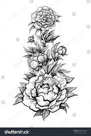 vector black white flowers tattoo on stock vector 603965600