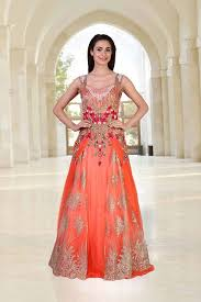 gown for wedding heavily worked gown in shaded orange color