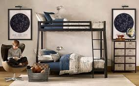 bedroom kids room black polished iron bunk bed built in stair