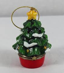 Box Ornament Porcelain Hanging Ornament Green Tree Light Treasure Box