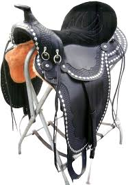 Horse Saddle by Henry Miller Trail Saddle With Suede Stitched Seat Basket Weave