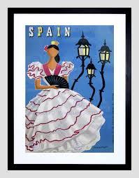 travel spain flamenco fan dance dress vintage advert framed art
