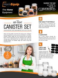 Kitchen Glass Canisters With Lids by Amazon Com Homequip 5 Piece Airtight Canister Set With Clip Top
