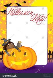 pumpkin invitation blank halloween party invitation holiday flyer stock vector
