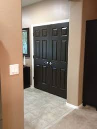 painted interior doors in espresso bean and spray painted hardware