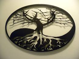 buy a custom oval yin yang tree of metal wall made to
