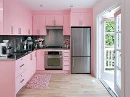 adorable l shape pink kitchen with pink color kitchen cabinets and