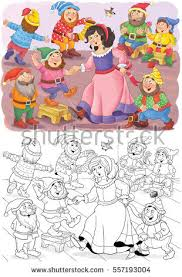 snow white dwarfs fairy tale stock illustration 360487469