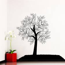 Tree Wall Art Decals Vinyl Sticker Wall Decal Tree Silhouette Leaves Forest Wall Bedroom Vinyl