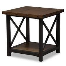 distressed wood end table herzen rustic industrial style antique textured finished metal