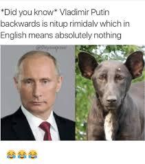 Putin Meme - did you know vladimir putin backwards is nitup rimidalv which in