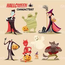halloween pic art cute cartoon halloween characters icon set stock vector art