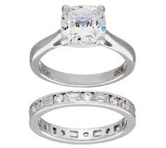 engagement rings 100 diamonique 100 facet cushion bridal ring set platinum clad page