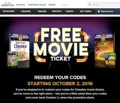 cineplex online cineplex free movie ticket on specially marked general mills