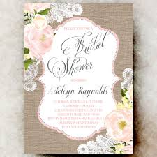 Shabby Chic Wedding Shower by Coral Grey Burlap Lace Bridal Shower Invitation Shabby Chic