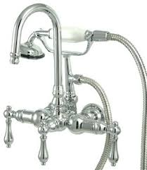 Bathtubs Faucets Wall Mount Tub Filler With Hand Shower Polished Chrome Finish