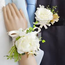 white corsages for prom free shipping bridegroom wedding flower wrist corsage white