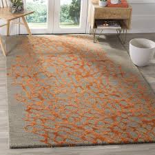 Safavieh Blossom Rug Safavieh Handmade Blossom Abstract Grey Orange Wool Rug 8 X 10