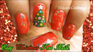 christmas nail art easy christmas tree nail art tutorial youtube