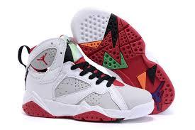 kid jordans kids air 7 retro shoes white gray black 75242 55